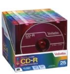 Verbatim CD-R 80 Min 700MB Colours Slim Case 25 Pack