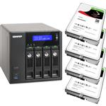 QNAP TVS-471-i3-4G 4 Bay NAS + 4x Seagate ST2000VN004 2TB IronWolf NAS HDD