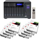 QNAP TVS-1282-i7-64G 12 Bay NAS + 8x Seagate ST3000VN007 3TB IronWolf NAS HDD