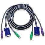 ATEN 2L-5001P/C VGA & PS/2 HDB15M-HDB15F Slim KVM Cable - 1.2m