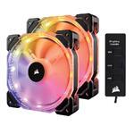 Corsair HD140 RGB LED High Performance 140mm PWM Fan - Dual Pack with Controller