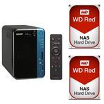 QNAP TS-253B-8G 2 Bay NAS + 2x WD WD30EFRX 3TB Red NAS HDD