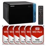QNAP TS-653B-4G 6 Bay NAS + 6x WD WD80EFZX 8TB Red NAS HDD