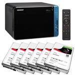 QNAP TS-653B-4G 6 Bay NAS + 6x Seagate ST10000VN0004 10TB IronWolf NAS HDD