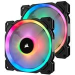 Corsair LL140 Dual Light Loop RGB LED 140mm PWM Fan - Twin Pack with Controller