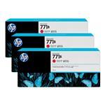 HP771B 775ML 3-Pack Ink Cartridge - Chromatic Red (B6Y24A)