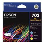 Epson 702 Standard Capacity DURABrite Ultra CMY Colour Ink Cartridge Pack