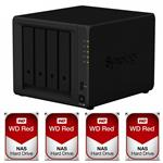 Synology DS918+ 4 Bay NAS + 4x WD WD60EFAX 6TB Red NAS HDD
