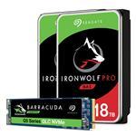 Bundle Deal: Seagate BarraCuda Q5 1TB M.2 SSD + 2x IronWolf Pro 18TB SATA HDD