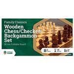 LPG Wooden Folding Chess/Checkers/Backgammon 30 cm Board Game Set
