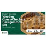 LPG Wooden Folding Chess/Checkers/Backgammon 35 cm Board Game Set