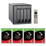 QNAP TS-451+-8G 4 Bay NAS + 4x Seagate ST2000VN004 2TB IronWolf NAS HDD
