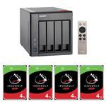 QNAP TS-451+-8G 4 Bay NAS + 4x Seagate ST4000VN008 4TB IronWolf NAS HDD