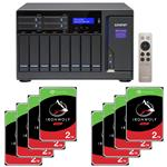 QNAP TVS-1282-i7-64G 12 Bay NAS + 8x Seagate ST2000VN004 2TB IronWolf NAS HDD