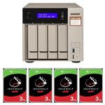 QNAP TVS-473e-4G 4 Bay NAS + 4x Seagate ST4000VN008 4TB IronWolf NAS HDD