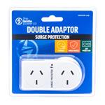 The Brute Power Co Double Adaptor Plug 2 Socket Surge Protected - Flat Left