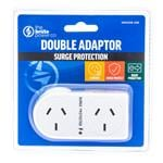 The Brute Power Co Double Adaptor Plug 2 Socket Surge Protected - Flat Right